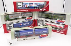 HERPA AMW HO 1/87 LOT #9 - 6 x CAMIONS RENAULT SCANIA US VOLVO..SEMI REMORQUES