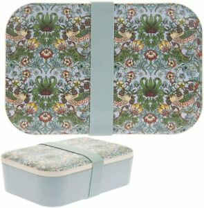 William Morris Green Strawberry Thief Floral Bamboo Eco Bento Food Lunch Box