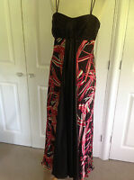 MONSOON stunning brown coral cream pink print burnout SILK maxi dress UK 12