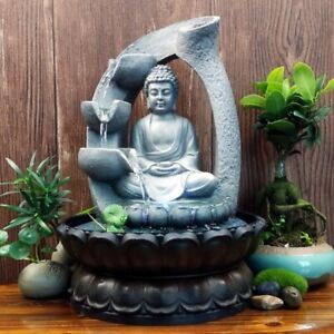LED Buddha Flowing Water Desktop Fountain Home Office Fengshui Decor Ornaments