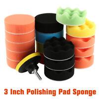 "19pcs 3"" Polish Polishing Buffing Waxing Pads Set Drill Adapter for Car Polisher"