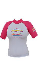 Billabong Girls Crush Short Sleeved Rash Vest 8, 10, 12 Pink/White, D4KY25 SALE