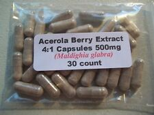 Acerola Berry Extract Powder Capsules 4:1  (Maldighia glabra) 500mg. - 30 count
