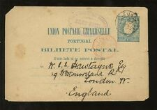 PORTUGAL STATIONERY 1881 MADEIRA FORWARDED HOTEL MILES to LONDON