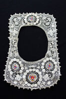 """ANTIQUE EDWARDIAN PERIOD COTTON LACE AND SILK COLOR EMBROIDERED COLLAR 17' X 11"""""""