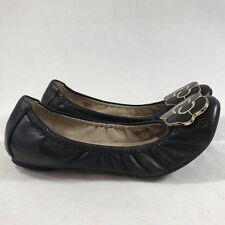 Ellen Tracy Sz 8 M Black Leather Scrunch Ballet Flats Cute Metal Flower Arielle