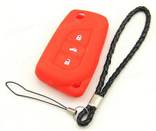 Red Silicone Case Cover For Toyota RAV4 Reiz Camry Corolla Prado Remote Flip Key