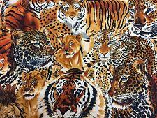 Shamash Jungle Cats Lion Tiger Cheetah African Animals Lions Tigers Fabric BTHY
