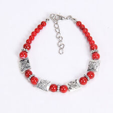 NEW DIY fashion butterfly red Tibetan silver beaded bracelet gift of love S29