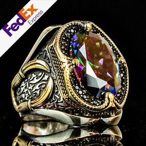 Mystic Topaz Stone Turkish Handmade 925 Sterling Silver Unique Mens Ring AllSize