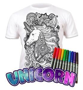 Splat Planet Colour-in Unicorn Mandala T-Shirt with 10 Non-Toxic Washable Pens