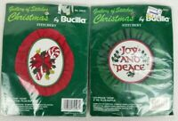 """Bucilla Christmas Hoops """"Candy Cane"""" and """"Joy/Peace"""" Hoop Gallery of Stitches"""