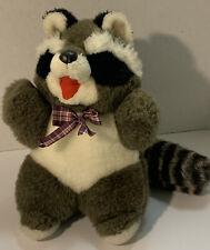 "Vintage Plush Raccoon Stuffed Animal 11"" Sitting Plaid Bow"
