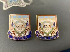 2x Rare Olympics Pin Badges LA 1984 Los Angeles Diving Water Polo Sports USA