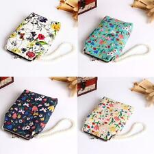 Retro Womens Small Wallet Canvas Flower Hasp Purse Clutch Bag For 5.5 Inch Phone