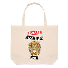 Beware Crazy Lion Lady Large Beach Tote Bag - Funny Animal Shopper Shoulder