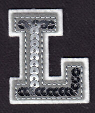 """LETTERS - Silver  Sequin  2"""" Letter """"L"""" - Iron On Embroidered Applique"""