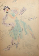 Vintage watercolor drawing female dress theatre/opera costume design signed