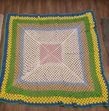 Crocheted Baby Blanket Afghan Multicolored Handmade Infant unisex 50×55 Bedding