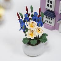 Blumenvase mit Narzissen Puppenhaus Dekor Miniatur 1:12 Dollhouse Deko NEU^