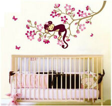 1x Sleeping Monkey On Peach blossom Tree Wall Decals Stickers Decor Kids Bedroom