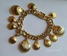 Tory Burch Golden Sculpted Seashell Shells Charm Bracelet Dangle Luxury Designer