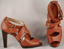 Women's Banana Republic Medium Brown Leather Strappy High Heel Sandals US 9 M