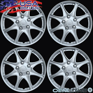 """4 New OEM Silver 16"""" Hubcaps Fits Subaru SUV Car AWD ABS Center Wheel Cover Set"""
