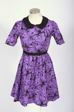 50s Style FOLTER Rockabilly Purple Halloween Spooky Owl Tree Fit Flare Dress S