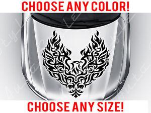 Flaming Eagle Bird Tattoo Tribal Mirrored Hood Decal Vinyl Custom Any Size Color