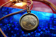 """GOLDEN"" ROARING LION COIN PENDANT on an 18"" Gold Filled Foxtail Snake Chain"