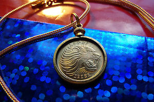 """""""GOLDEN"""" ROARING LION COIN PENDANT on an 18"""" Gold Filled Foxtail Snake Chain"""