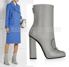 $1,100 GUCCI ANKLE BOOTS GREY LEATHER HORSEBIT DETAIL LILLIAN IT 37.5 US 7.5