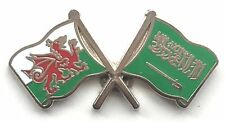 Wales & Saudi Arabia Flags Friendship Courtesy Enamel Lapel Pin Badge