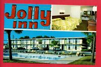 VALDOSTA GA JOLLY INN TV TELEVISION MOTEL INTERIOR POOL OLD CARS   POSTCARD