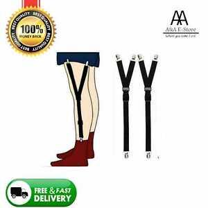 Y Style Men Elastic Band Garter Non slip Socks Shirt Stay Holder Suspender BLACK