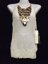 STUNNING NEW LADIES CREAM CHIFFON DISC DETAIL BACKLESS TOP BY LIPSY  SZ UK 6