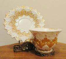 RARE ANTIQUE MEISSEN CUP AND SAUCER CIRCA1829 GOLD OAK LEAF SIGNED HALLMARK