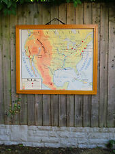 Awesome VINTAGE BIADESIVO mappa dell' America del Nord & Australia-Carta 1960's