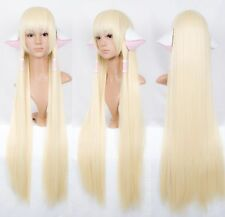Chobits CHII 100cm super long pale milk blonde COSPLAY wig + ears accessories
