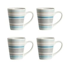 Set Of 4 Blue Band Mugs Striped Coffee Tea Cups Hot Drink Porcelain 12oz Kitchen