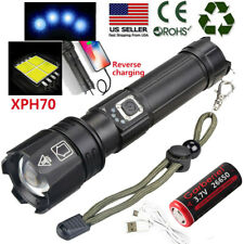 Super Bright XHP70.2 Zoomable 5Modes LED USB Rechargeable 18650 Flashlight Torch