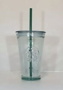 STARBUCKS Glass Tumbler Cold Cup with Straw GRANDE 16oz - Uk trusted Seller