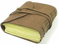 """Handmade 5"""" x 7"""" Leather Tri-Fold Buff Journal  with 100% Cotton Paper"""