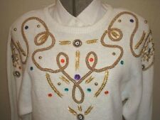 Ladies SWEATER white decorated Christmas? Sz L Bust 44