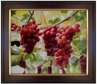 Framed, Red Grapes on Vine, Quality Hand Painted Oil Painting 20x24in