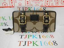 NWT COACH~Khaki / Mahogany~Zoe Signature ACC Zip Around Wallet 41854