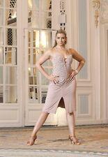 Vestido Rosa Latin Ballroom Dancesport UK 10-12 cristales de Swarovski