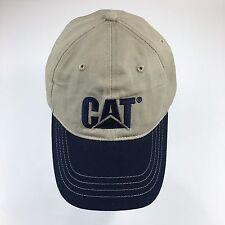 CAT Caterpillar Equipment Baseball Hat Tan And Navy Blue Embroidered Ball Cap