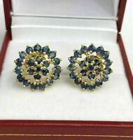 925 SS 1.20 CT Round Cut Blue Sapphire Cluster Stud Earrings 14k Yellow Gold FN
